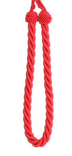 RED PLAIN COLOUR PAIR OF ROPE CORDED TIEBACKS